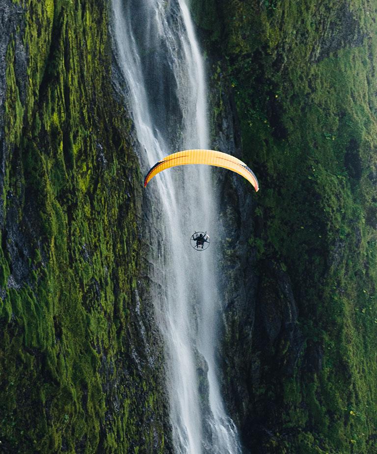 paramotor waterfall