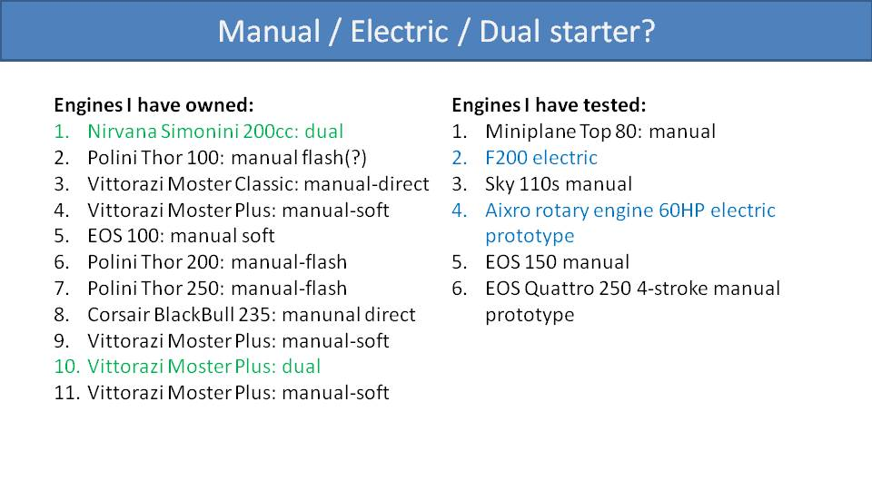 Manual or Electric Starter for Paramotor