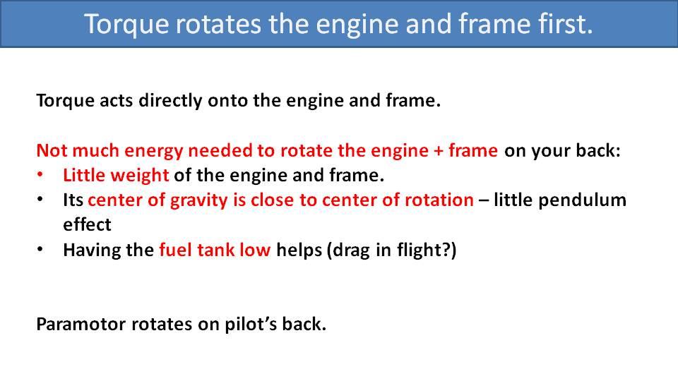 Torque Compensation on High-Suspension Paramotors 1